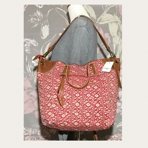 Lucky Brand Selden Tote Bag Floral Red & Cream